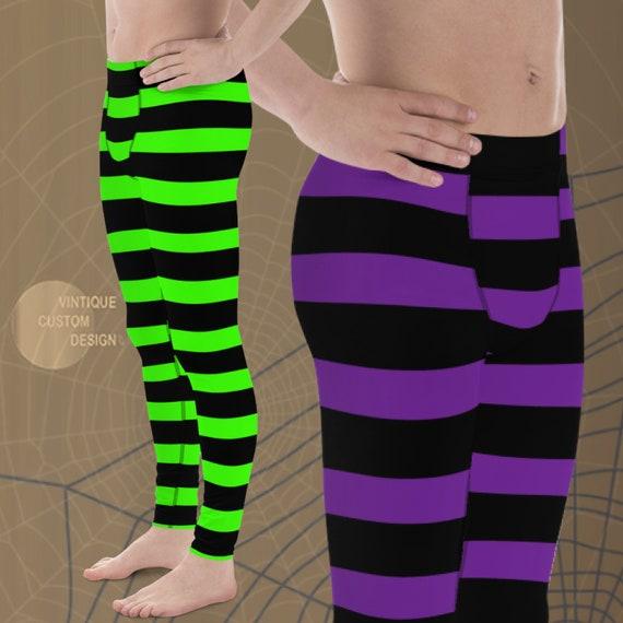 WITCH LEGGINGS MENS Halloween Leggings Striped Witch Leggings Purple and Black or Green and Black Mens Yoga Pants Meggings Yoga Leggings