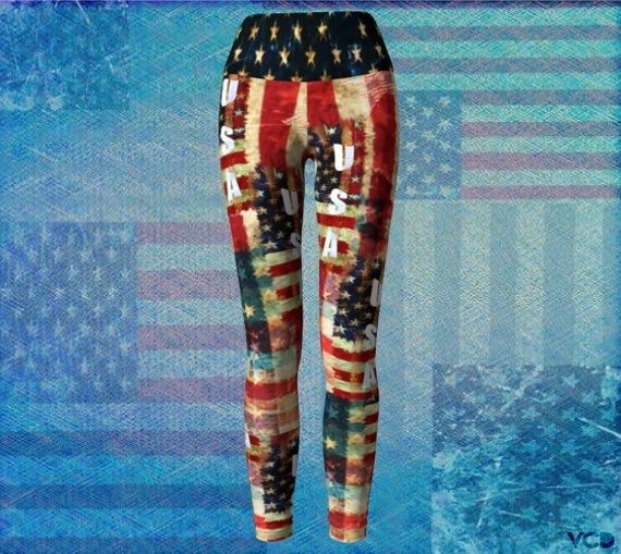 American Flag USA Printed LEGGINGS Womens Yoga Pants Yoga Leggings Red White and Blue Fourth of July Independence Day Work out LEGGINGS