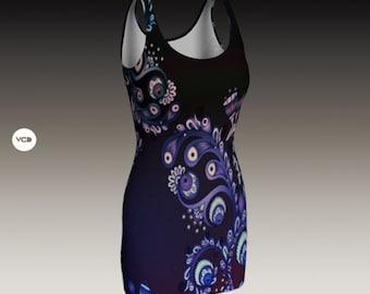 FLORAL Paisley DRESS Women's Body-con Dress or Fit and Flare Dress SUMMER Dress Flower Print Dress Summer Clothing Boho Dress Festival Dress