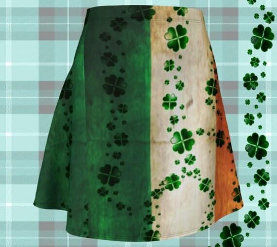SHAMROCK SKIRT for Women St Patricks Day Skirt Irish Pride Fashion Skirt Flare Mini Skirt Clover Print Skirt Paddys Day Outfit Womens Skirts