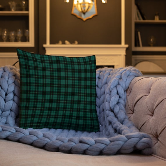 "Green Tartan PLAID Christmas Decorative PILLOW HOLIDAY Seasonal Decor Christmas Home Decor Pillow Insert Included 18"" x 18"" Square Pillow"