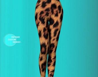 CHEETAH PRINT LEGGINGS for Women Faux Fur Sexy Print Leggings Sexy Womens Leggings Sexy Yoga Pants Sexy Yoga Leggings Womens Cheetah Pants