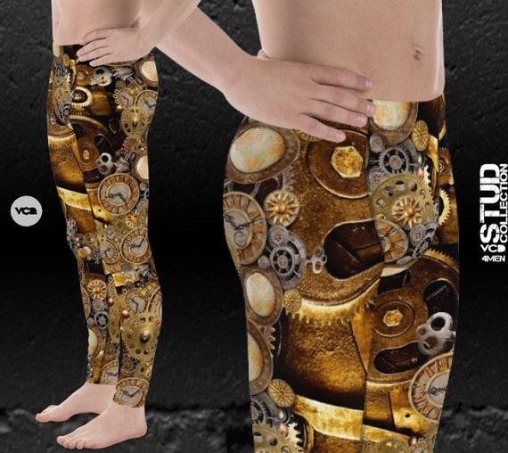 MENS STEAMPUNK LEGGINGS Futuristic Clothing Mens Steampunk Clothing Steampunk Clocks and Gears Printed Leggings for Men Yoga Pants Meggings