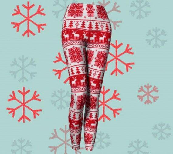CHRISTMAS LEGGINGS WOMENS Leggings Red Crochet Pattern Leggings Yoga Pants Womens Leggings Holiday Clothing Reindeer Christmas Tree Pattern