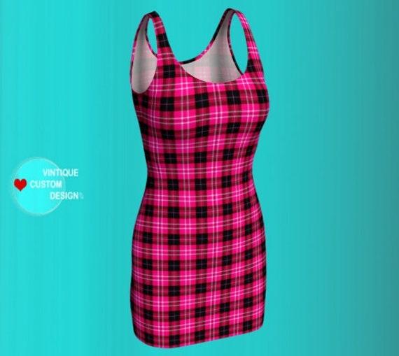 Pink and Black Tartan Plaid DRESS for Women Flare Dress Bodycon Dress Womens Dresses Spring Dresses Gift for Her Skater Dress Summer Dress