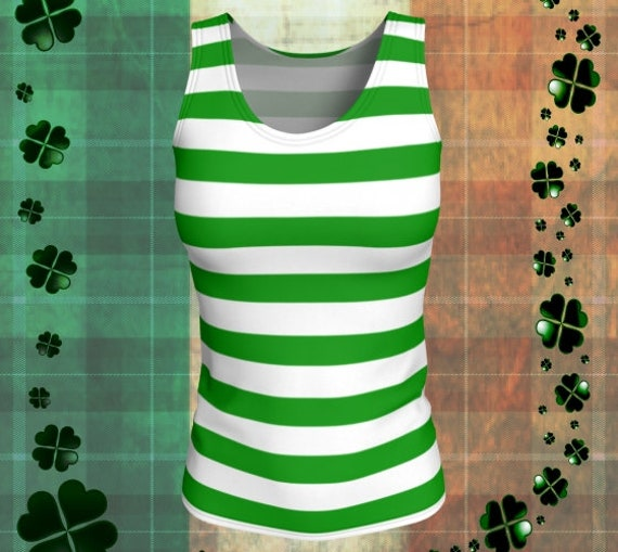 St. Pattys Day TANK TOP Green and White Top Women's Tank Top Striped Tank Top Workout Top Yoga Top Leprechaun Tank Top Striped Tank Top