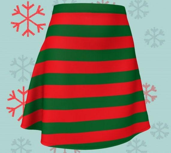 CHRISTMAS ELF SKIRT Red and Green Striped Skirt Christmas Skirt Fitted or Flare Styles Designer Fashion Skirt for Women Christmas Clothing