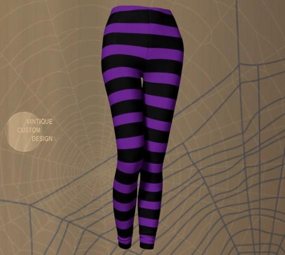 Wicked WITCH Costume LEGGINGS HALLOWEEN Purple and Black Stripe Leggings Printed Leggings for Cosplay Adult Costume Leggings Witch Stockings