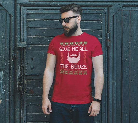 CHRISTMAS SANTA TEE Funny T-shirt Gimme all the Booze Mens Women's Unisex Clothing Adult Christmas Gift for Him Funny Christmas Gift for Her