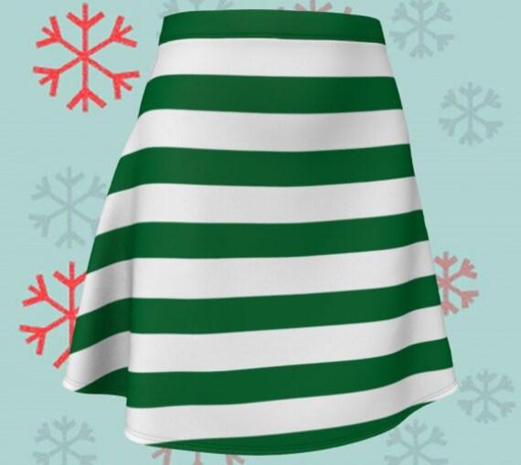CHRISTMAS ELF SKIRT Dark Green & White Striped Skirt Christmas Skirt Fitted or Flare Styles Designer Skirt for Women Christmas Clothing