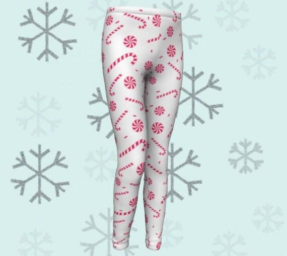 Kids CANDY CANE LEGGINGS Christmas Leggings Kids Red and White Leggings Baby Leggings Toddler Leggings Kids Leggings Childrens Leggings