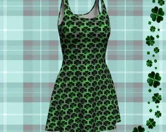 SHAMROCK CLOVER DRESS Green Shamrock Clover Printed Dress for Womens St. Patrick's Day Clothing St. Patty's Day Dress Four Leaf Clover Dress