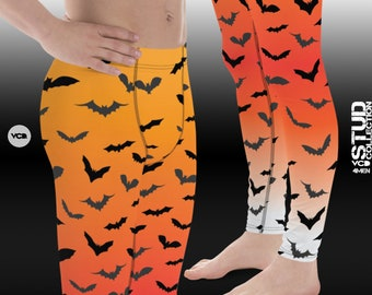 Mens Halloween Leggings BAT LEGGINGS MENS Halloween Bat Print Leggings Meggings Mens Yoga Pants Halloween Leggings for Men Orange Black
