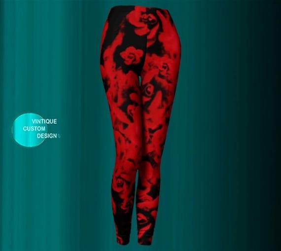 Red Rose LEGGINGS Womens Rose Leggings Yoga Pants Yoga Leggings FLORAL Leggings Flower Leggings RED and Black Printed Leggings Womens Tights