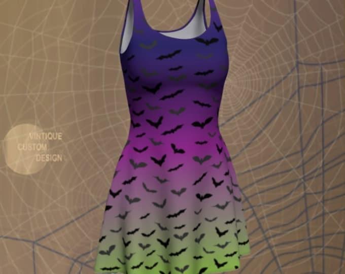 HALLOWEEN DRESS Green and Purple Bat Dress Women's Designer Fashion Dress Womens Body-con Dress Party Dress Fitted Dress Fit & Flare Dress