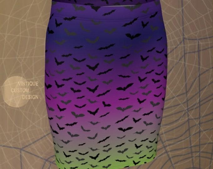 Ombre HALLOWEEN SKIRT Womens Skirt for Halloween Fitted Skirt High Waisted Skirt Womens Halloween Costume Sexy Mini Skirt Rave Clothing