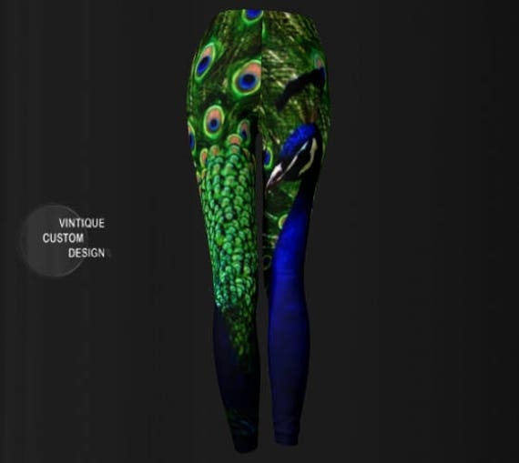 fashion Blue Yoga and Peacock LEGGINGS Leggings PEACOCK Eco Pants Leggings Feather Womens Green Animal Leggings Printed Summer Yoga Print xwI1qw7U