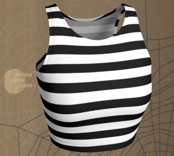 Jail Crop Top HALLOWEEN CROP TOP Striped Halloween Cropped Top Women's Crop Top Bralette Sports Bra Women's Crop Top Sexy Rave Clothing