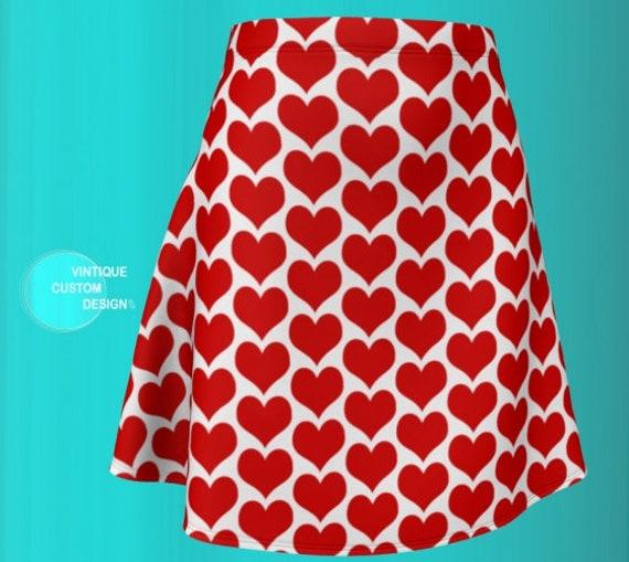 VALENTINES DAY SKIRT Heart Print Skirt for Women Hight Waisted Skirt Women's Red & White Heart Skirt Designer Fashion Skirt Fit or Flare
