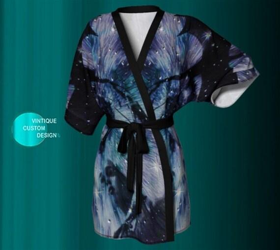 KIMONO ROBE Women's Long Peignoir Kimono Robe Cosmic Galaxy Print GOT Game of Thrones Inspired Designer Kimono Robe Purple and Black Dragon