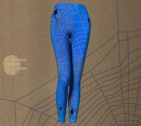 COBWEB LEGGINGS HALLOWEEN Womens Art Leggings Printed Leggings Spiderweb Print Costume Leggings for Her Blue and Grey Spider Web Leggings