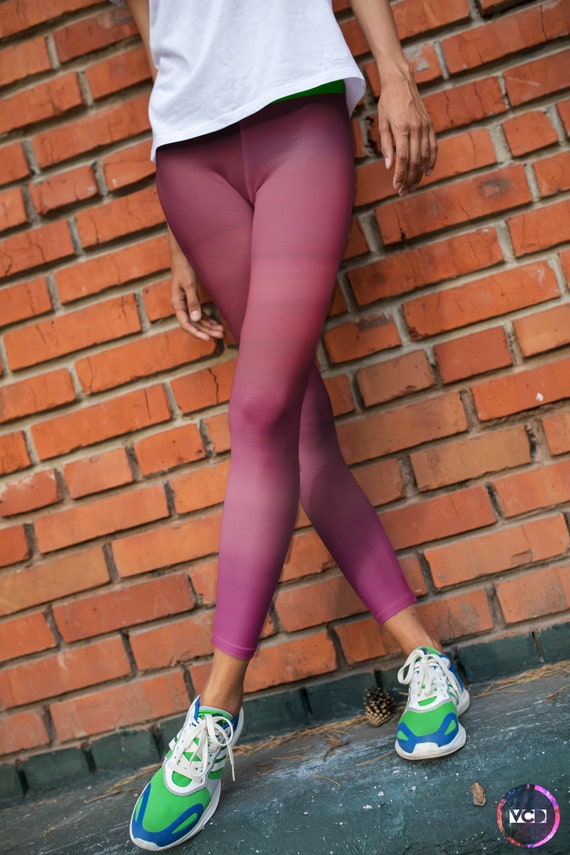 PINK OMBRE LEGGINGS Womens Pink Ombre Printed Leggings Yoga Pants for Women Yoga Leggings Art Leggings Work Out Clothing Fitness Tights