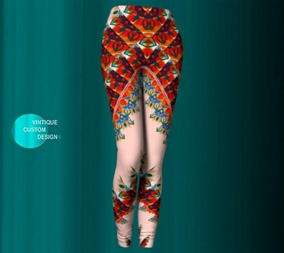 Yoga LEGGINGS Yoga Pants Womens Leggings Burning Man Festival Leggings Sexy Print Leggings Womens Designer Fashion Leggings Gift for Wife