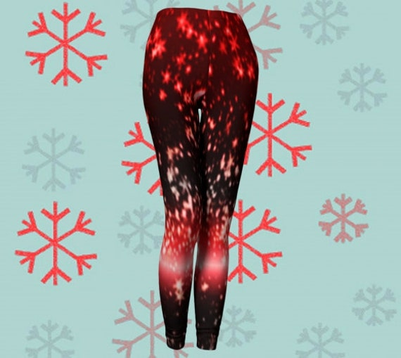 STAR LEGGINGS Red Sparkly Printed Leggings WOMENS Yoga Leggings Yoga Pants Fourth of July Leggings Independence Day July 4th Gift for Wife