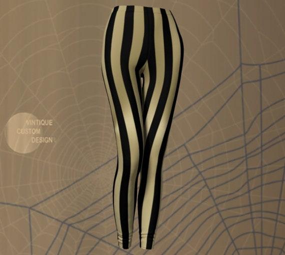 Halloween Leggings Gold and Black LEGGINGS WOMENS PINSTRIPED Leggings Yoga Leggings Women's Yoga Pants Designer Fashion Print Leggings
