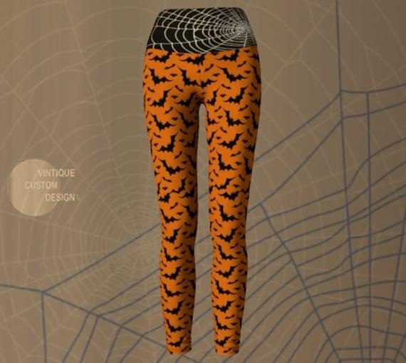 BAT Print YOGA LEGGINGS Women's Orange and Black Yoga Pants Printed Legging's Fun Leggings Womens WorkOut Clothing Eco Fashion Leggings