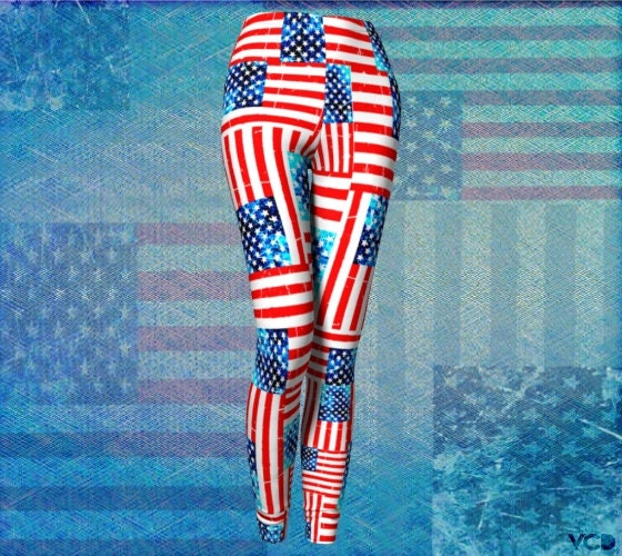 9364ba6ab94c5b AMERICAN Flag LEGGINGS USA Print Yoga Leggings for Women Independence Day  Fourth of July Yoga Pants Red White and Blue Stars and Stripes