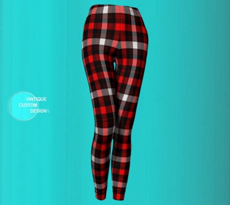 046ca03ee00d2 Red PLAID LEGGINGS Womens Plaid Leggings Red Black White | Etsy