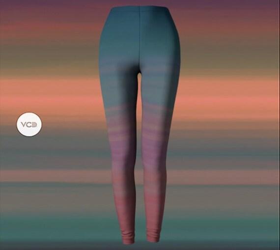 Rainbow Ombre Rave Leggings Burning Man Clothing Womens Festival Leggings Yoga Pants Yoga Leggings SEXY PRINT LEGGINGS Festival Outfit
