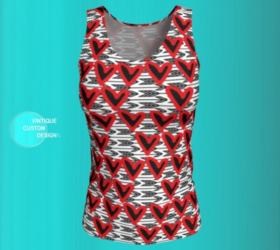 Valentine's Day TANK TOP Red Heart Tank Top Cupid Arrow Tank Top Womens Tank Top Heart Top Heart Top Women's Workout Clothing Gym Clothing