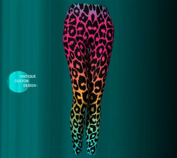 Cheetah LEGGINGS Rainbow Leggings Animal Print Yoga Leggings WOMENS Leggings YOGA Pants for Women Rave Clothing Work Out Fitness Leggings