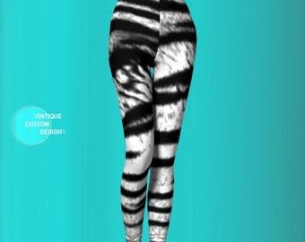 Tiger LEGGINGS Animal PRINT Leggings for WOMENS Siberian Tiger Print Leggings Black and White Tiger Print Yoga Pants Sexy Print Leggings