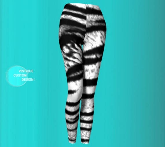 Tiger LEGGINGS Animal PRINT Leggings for WOMENS Siberian Tiger Print Leggings Black and White Tiger Print Yoga Pants Sexy Print Leggings