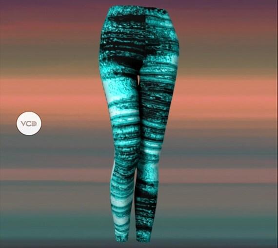 LEGGINGS Ice Cool Vaporwave YOGA PANTS Teal Black Designer Art Leggings for Women Festival Clothing Rave Leggings Workout Clothing Women's