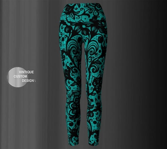 YOGA LEGGINGS WOMENS Lace Tattoo Printed Leggings Yoga Pants for Women Teal and Black Floral Lace Print Sexy Leggings Tribal Tights