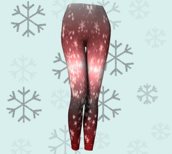 Star Print LEGGINGS WOMENS Yoga PANTS Yoga Leggings Red and White Star Printed Leggings for Women Independence Day Clothing Sparkly Leggings