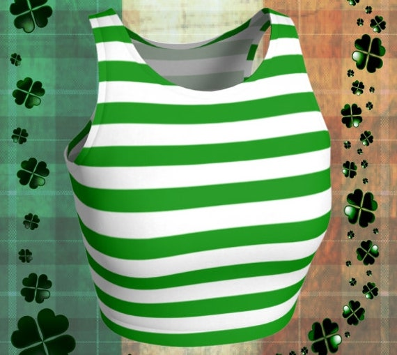 St Patricks Day CROP TOP Green and White Striped Cropped Top Women's Crop Top Bralette Sports Bra Women's Crop Top Women's Clothing Top