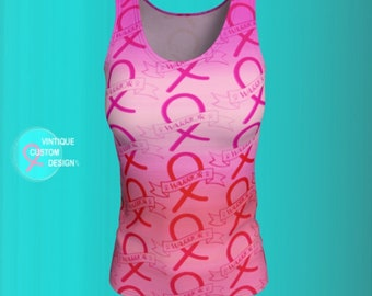 Pink Ribbon BREAST CANCER Awareness Month Sleeveless Tank Top Womens BCAM Warrior Ribbon Pink Ombre Printed Tank Top Survivor Gift for Women