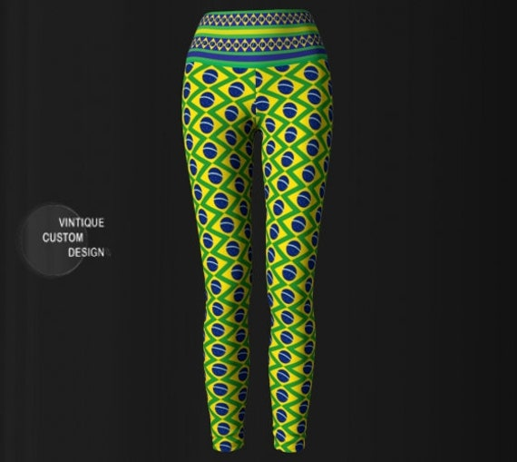 BRAZIL LEGGINGS Brasil Yoga Pants for Women Green Blue and Yellow Brazilian Flag Leggings Womens Yoga Leggings Brazilian Flag Print Leggings