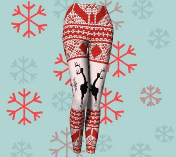 Reindeer LEGGINGS for WOMEN - Designer Leggings - Sexy Print Leggings - Sexy Yoga Pants - Sexy Womens Leggings - Womens Sexy Leggings