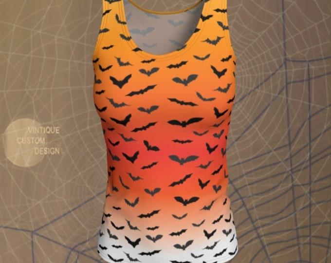 HALLOWEEN BAT TANK Top Orange Ombre Bat Print Tank Top Shirt Womens Tank Top Yoga Top Work Out Top Womens Halloween Bat Print Tank Top