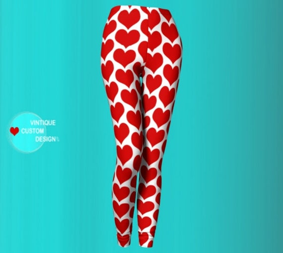 Red and White Leggings Women's HEART LEGGINGS Independence Day Patriotic Heart Leggings Sexy Yoga Pants Sexy Yoga Leggings Gifts for her