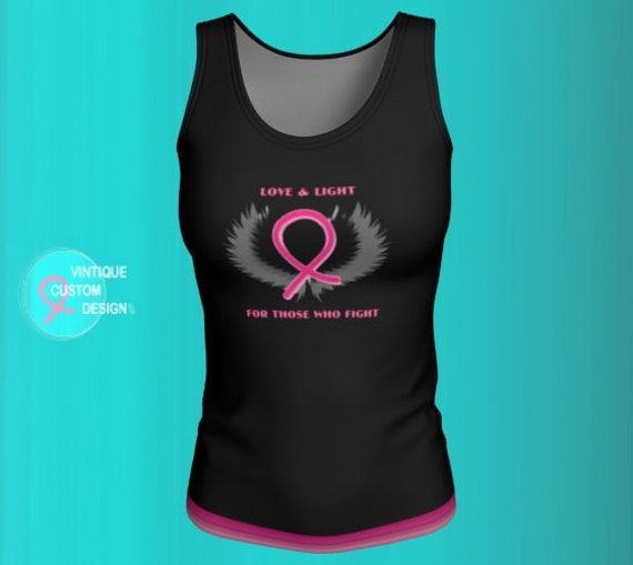 Breast Cancer Awareness BCAM TANK TOP Womens Pink Ribbon Shirt Black & Pink Breast Cancer Ribbon Survivor Top Work Out Clothing Running Top