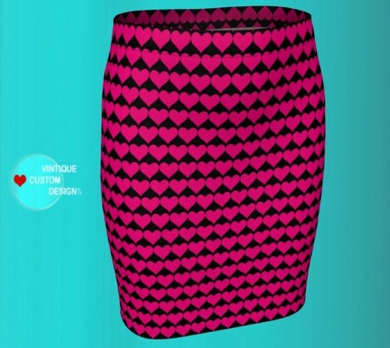 PINK and Black HEART Print Skirt Womens Designer Fashion Skirt VALENTINES Day Heart Pattern Skirt in Fitted or Flare Styles Pink Heart Skirt