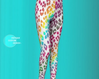 RAINBOW CHEETAH LEGGING'S for Girls Baby Leggings / Toddler Leggings Back to School Outfit for Kids Fashion Tights for Girls Dance Tights