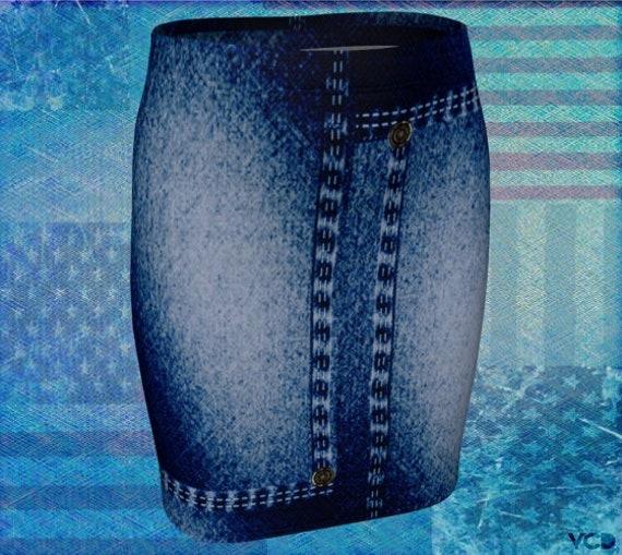 Jean Skirt Womens Blue Jean Skirt Denim Skirt for Women Women's Clothing 1980's Jean Skirt Faux Denim Skirt High Waisted Skirt Summer Skirt